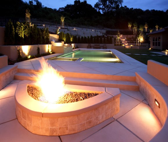 Fire Features for Your Pool by Deep Blue Pools and Spas
